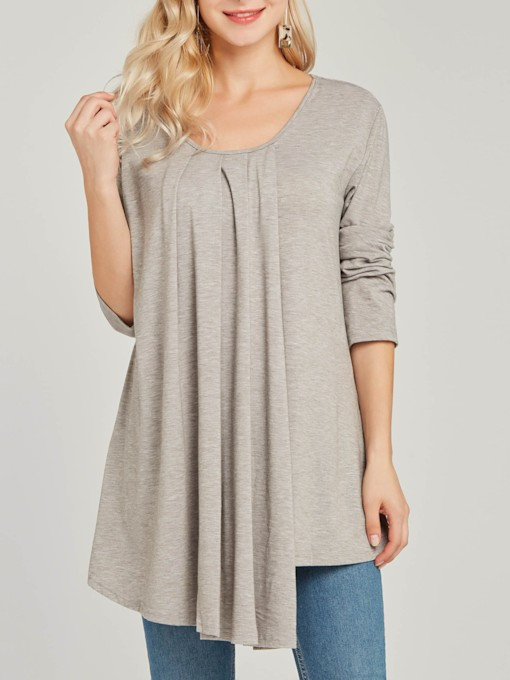 Mid-Length Round Neck Plain Asymmetric Women's T-Shirt