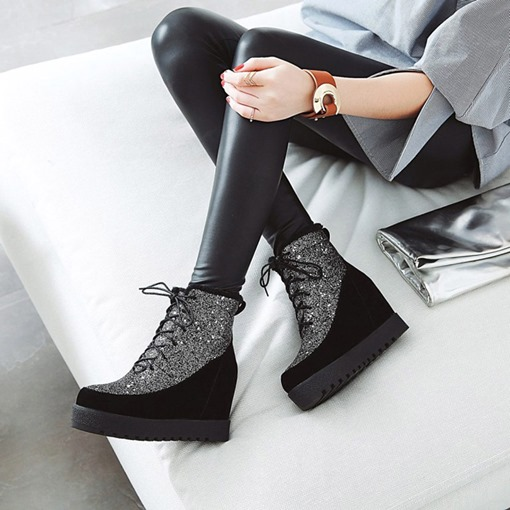 Lace-Up Back Round Toe Elevated Sequin Glitter Women's Ankle Boots