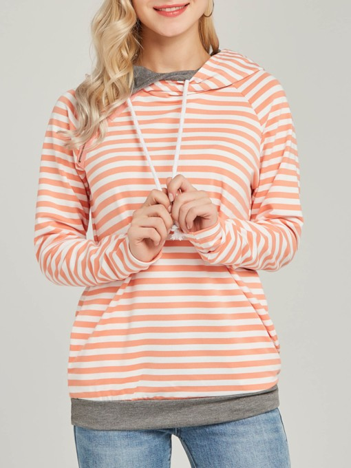 Color Block Stripe Drawstring Women's Hoodie