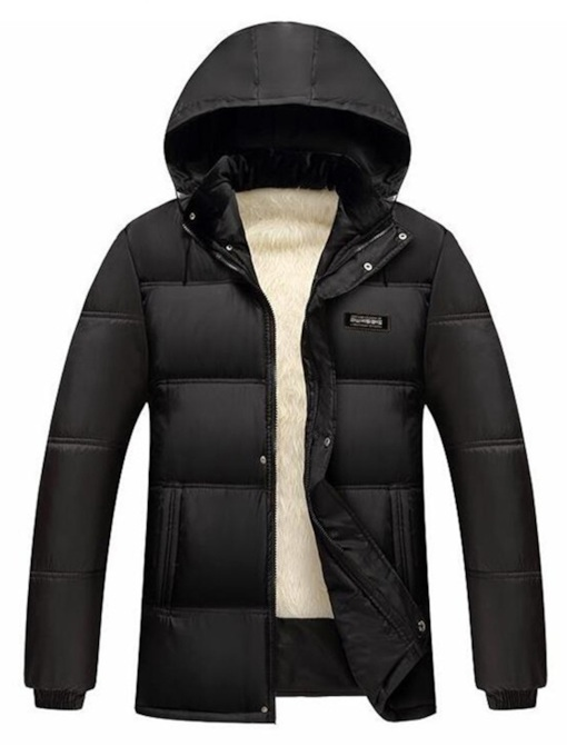 Straight Thick Plain Stand Collar Men's Down Jacket