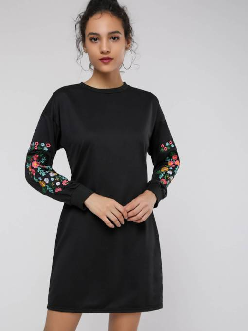 Embroidery Floral Women's Long Sleeve Dress