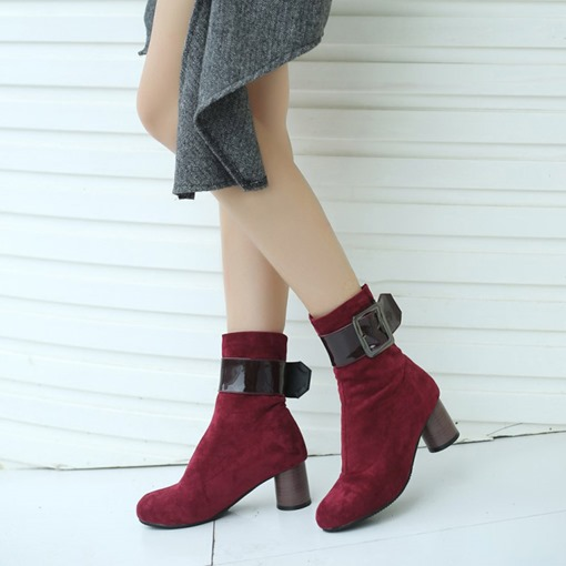Hasp Chunky Heel Round Toe Patchwork Trendy Women's Ankle Boots