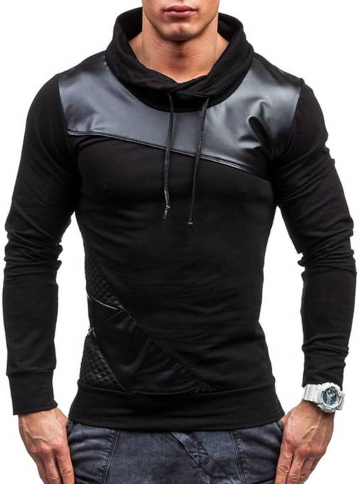 Slim Pullover Lapel Plain Patchwork Men's Hoodie