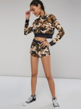 Color Block Tie Dye Hoodie and Shorts Women's Two Piece Set