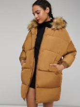 Mid-Length Faux Fur Patchwork Zipper Up Women's Overcoat