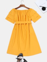 Falbala Pleated Bowknot Women's Day Dress