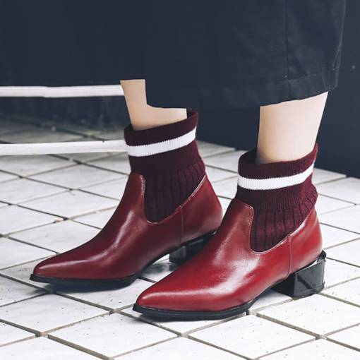 Pointed Toe Slip-On Block Heel Stripe Patchwork Women's Ankle Boots
