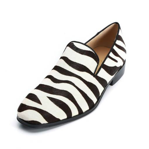 Round Toe Low-Cut Zebar Stripe Slip-On Unique Men's Dress Shoes