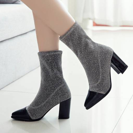 Pointed Toe Slip-On Chunky Heel Patchwork Glitter Women's Ankle Boots