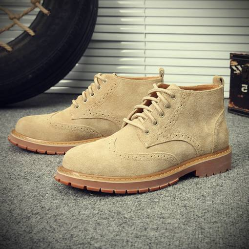 Suede Round Toe Lace-Up Front Sewing Men's Martin Boots