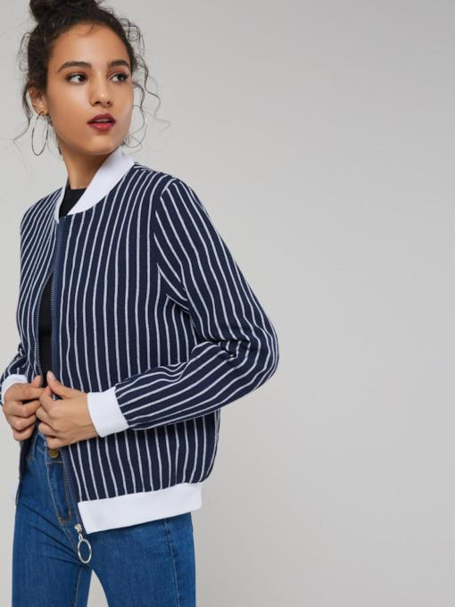 Stand Collar Stripe Zipper Up Women's Jacket