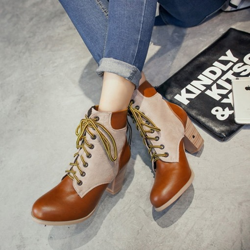 Round Toe Lace-Up Front Patchwork Trendy Women's Ankle Boots