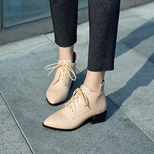 Pointed Toe Lace-Up Front Block Heel Ladylike Women's Ankle Boots