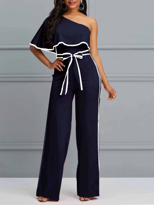 Casual Full Length Backless Stripe Mid-Waist Women's Jumpsuit