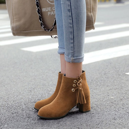 Round Toe Side Zipper Chunky Heel Fringe Women's Ankle Boots