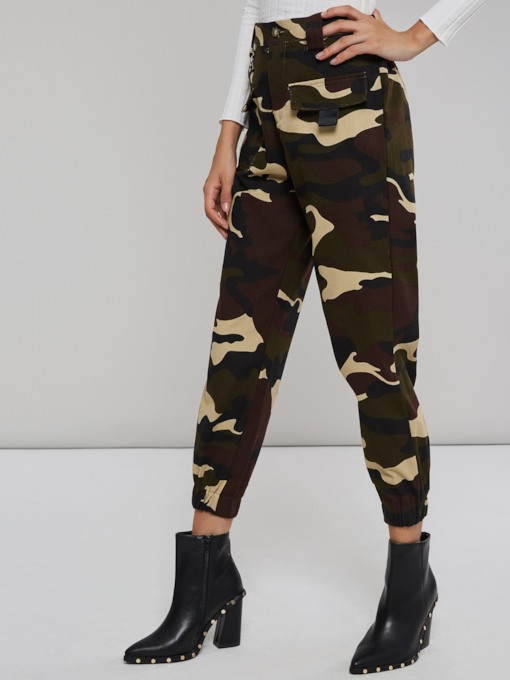 Pocket Camo Print Loose Women's Casual Pants