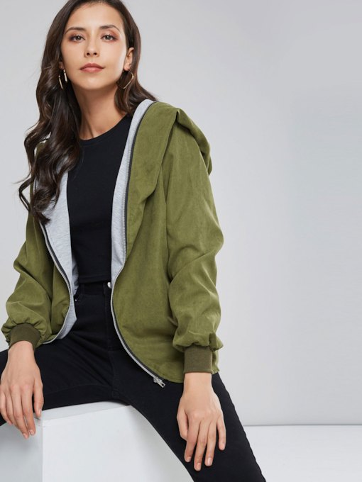Plus Size Zipper Up Hooded Olive Color Women's Jacket