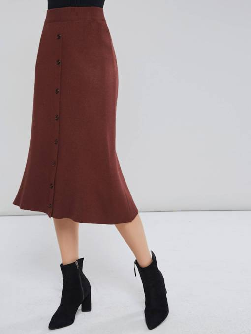 A Line Single Breasted Women's Mid Calf Skirt