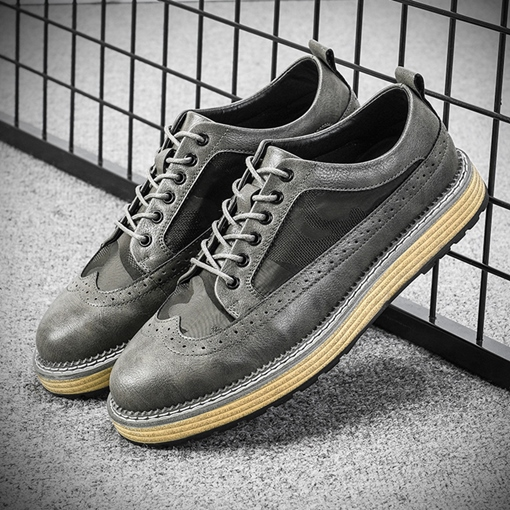 Lace-Up Thread Round Toe Sewing Casual Men's Shoes