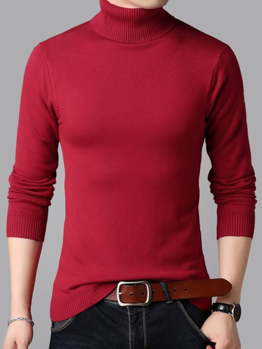 Slim Plain High Neck Men's Sweater