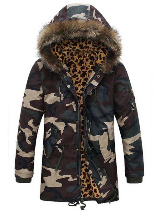 Straight Thick Hooded Camouflage Men's Jacket