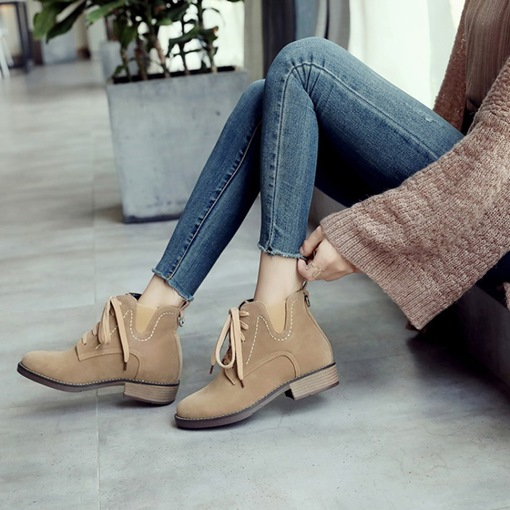 Round Toe Lace-Up Front Block Heel Casual Women's Ankle Boots