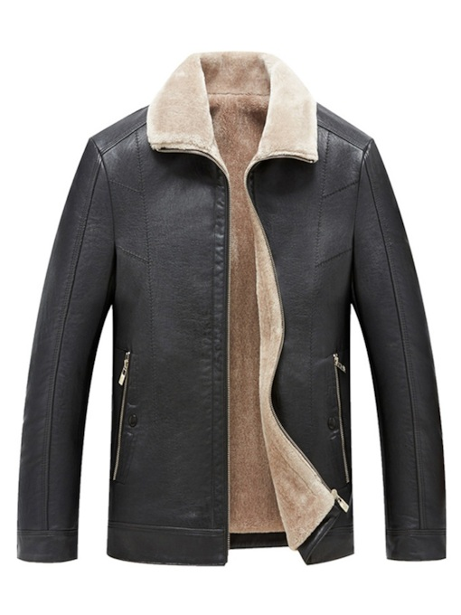 Casual Plus Fur Lapel Plain Slim Men's PU Jacket
