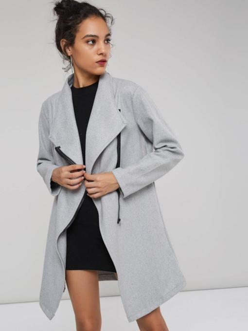 WIde Lapel Mid-Length Zipper Up Women's Trench Coat