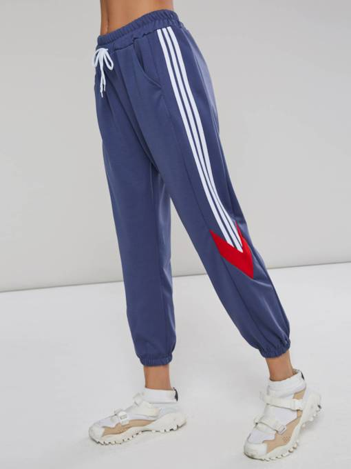 Loose Stripe Drawstring Women's Casual Pants