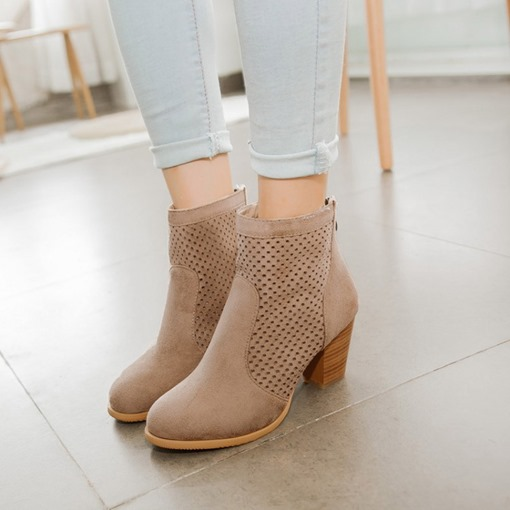Round Toe Back Zip Chunky Heel Hollow Casual Women's Ankle Boots