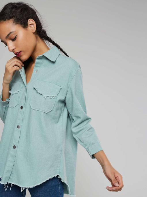 Plain Denim Blue Dual Pocket Women's Shirt