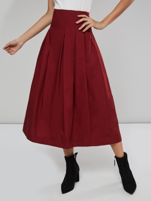 High Waist Pleated A Line Women's Maxi Skirt