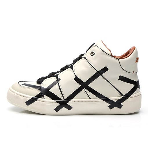 Round Toe Prints Lace-Up High Top Customized Men's Skateboard Shoes