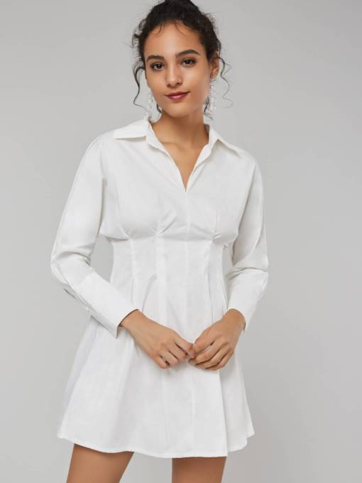White Lapel Women's Long Sleeve Dress
