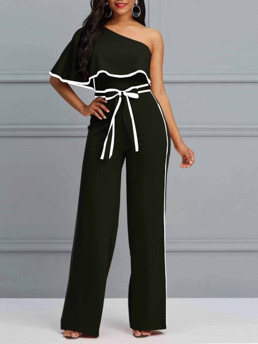Casual Stripe Oblique Collar Tie-Waist Women's Jumpsuits