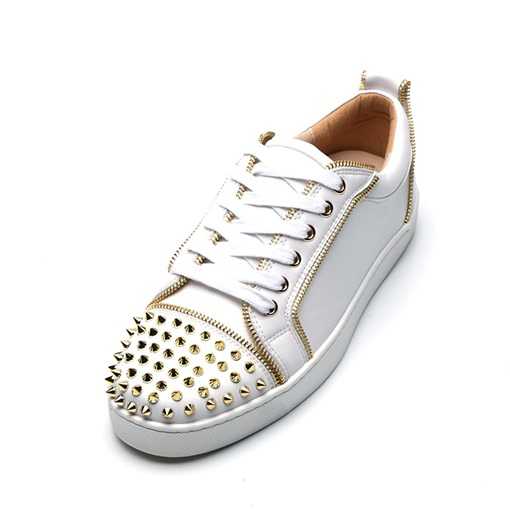Lace-Up Zipper Round Toe Rivet Low-Cut Versatile Men's Skateboard Shoes