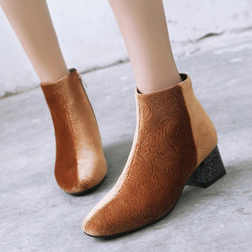 Suede Round Toe Side Zipper Chunky Heel Patchwork Women's Ankle Boots