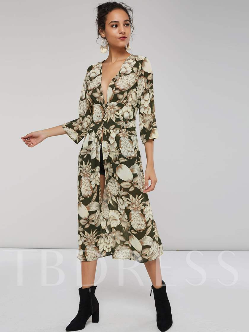 Floral Prints 3/4 Length Sleeves Women's Day Dress