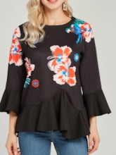 Floral Ruffles Flare Sleeve Print Women's Blouse