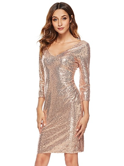 3/4 Length Sleeves V-Neck Womens Party Dress