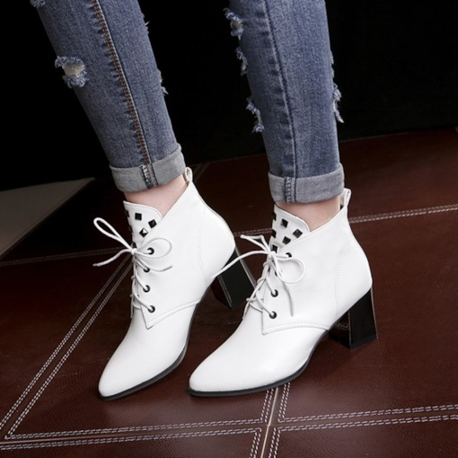 Pointed Toe Lace-Up Front Chunky Heel Plain Casual Women's Ankle Boots