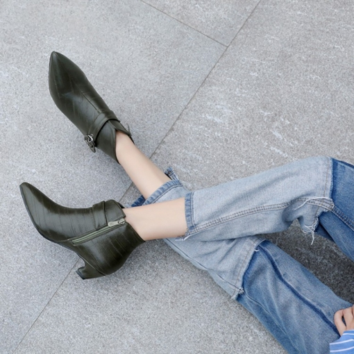 Pointed Toe Buckle Side Zipper Chunky Heel Women's Ankle Boots