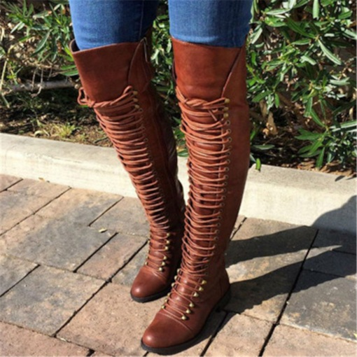 Block Heel Side Zipper Round Toe Vintage Women's Knee High Boots