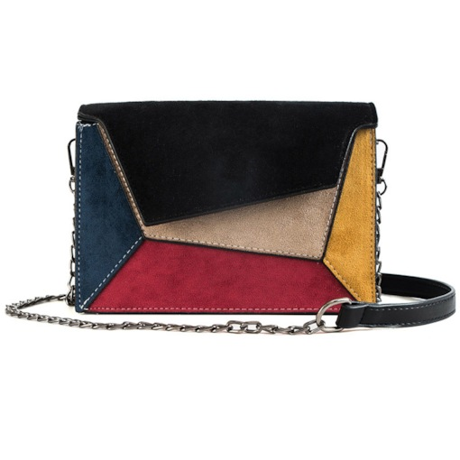 Color Block PU Rectangle Magnetic Snap Chain Crossbody Bags