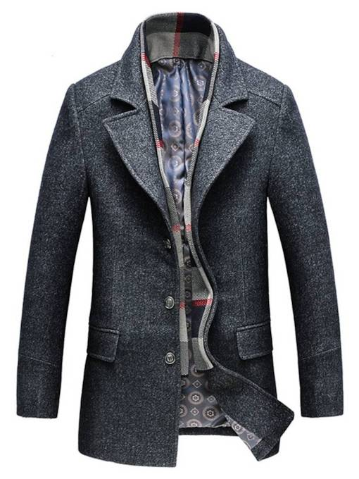 Casual Slim Lapel Plain Mid-Length Men's Coat