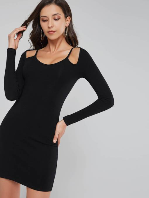 Black Cold Shoulder Ruffled Women's Long Sleeve Dress