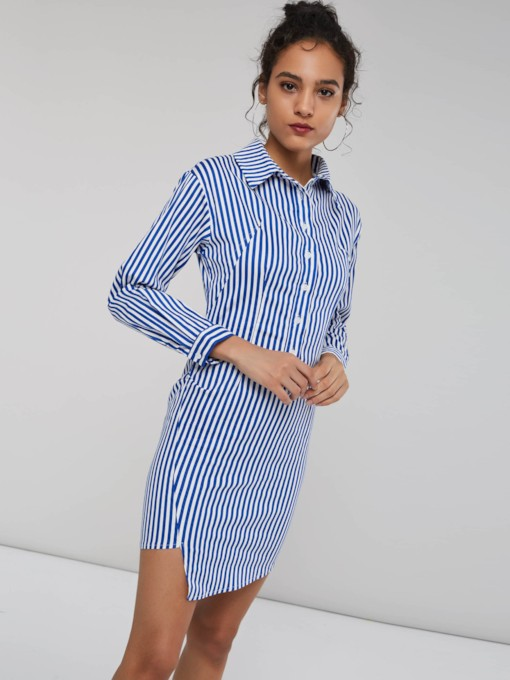 Stripe Single-Breasted Women's Bodycon Dress