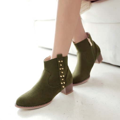 Round Toe Side Zipper Chunky Heel Short Floss Sewing Ankle Boots