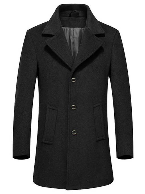 Casual Plain Slim Lapel Mid-Length Men's Coat
