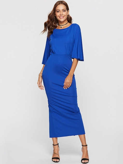 Blue 3/4 Length Sleeves Women's Maxi Dress